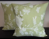 Set of 2 Pillow Covers 20 x 20 inch-Free Shipping - Cream floral print on Seafoam Green