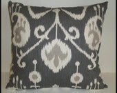 2 Pillow Covers 16x16 inch-Free Shipping - Java Pewter Ikat Designer Home Decor Fabric