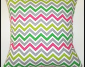 Single Pillow Cover 16x16-Free Shipping - Zoom Zoom Chartreuse/Candy Pink--