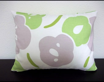 Single Pillow Cover 12x16 inch -Free Shipping - Lavendar and Green on White Large Floral Throw Pillow Cover