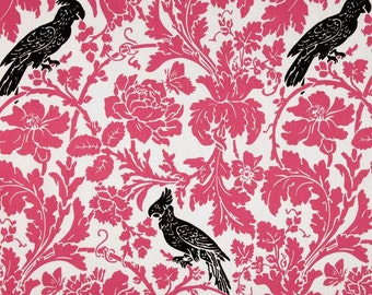 Single Pillow Cover 18x18 inch-Free Shipping - Barber Candy Pink with Black Birds