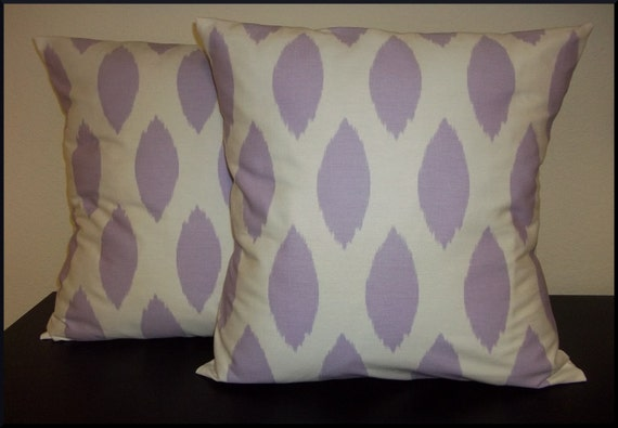 Decorative Set of 2 Pillow Covers 18x18inch-Free Shipping - Chipper Ikat Wisteria Purple Lavendar Throw Pillow Case Cushion Cover