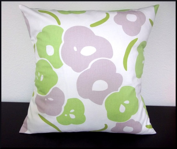 Set of 2 Pillow Covers 20x20-Free Shipping - Home Decor Fabric Spring Floral Green Lavendar Throw Pillow Covers--