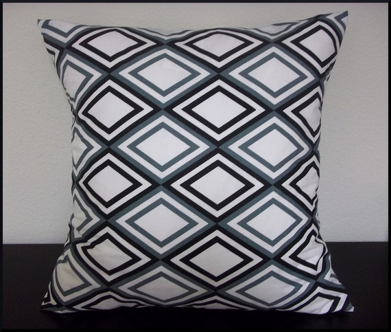 Set of 2 Pillow Covers 20x20-Free Shipping - Annie in Black Gypsy, Black White Gray Throw Pillow Covers--