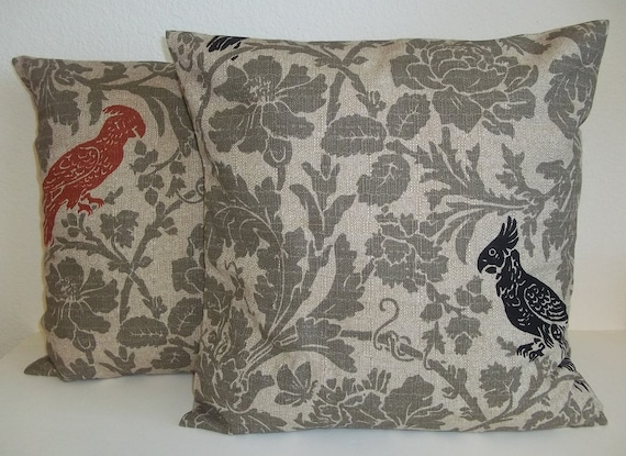 Mixed Set of 2 Pillow Covers 16x16 -Free Shipping - Barber Denton in Stone Black and Arizona Rust--