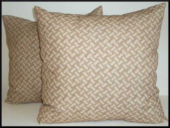 2 Pillow Covers 18x18-Free Shipping - Carver Weave in Natural--