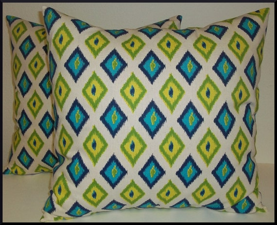 2 Pillow Covers 18x18 inch-Free Shipping - Carnival Ikat in Sunshine and Natural Home Decor Fabric--