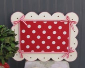 Valentines Day Red Polka Dot Fabric Covered Magnetic Memo Board Chalkboard