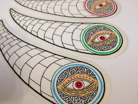 Matt Leines / die-cut Eyeball Stickers/ Limited Edition/ Red Blue Green