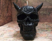 Celtic Skull Beeswax Candle Horned Black Skull Candle