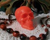 2 Hot Red Beeswax Skull Candles Día de los Muertos Bright Red Skull