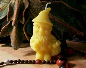 Small Gnome 4 Beeswax Candles
