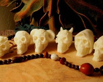 Set of 6 LIttle White Beeswax Skull Candles Each Is Different