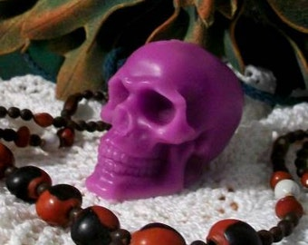 2 Skull Beeswax Candles Hot Purple Magenta Candles Día de los Muertos