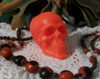 2 Hot Red Beeswax Skull Candles Día de los Muertos Bright Red Skull