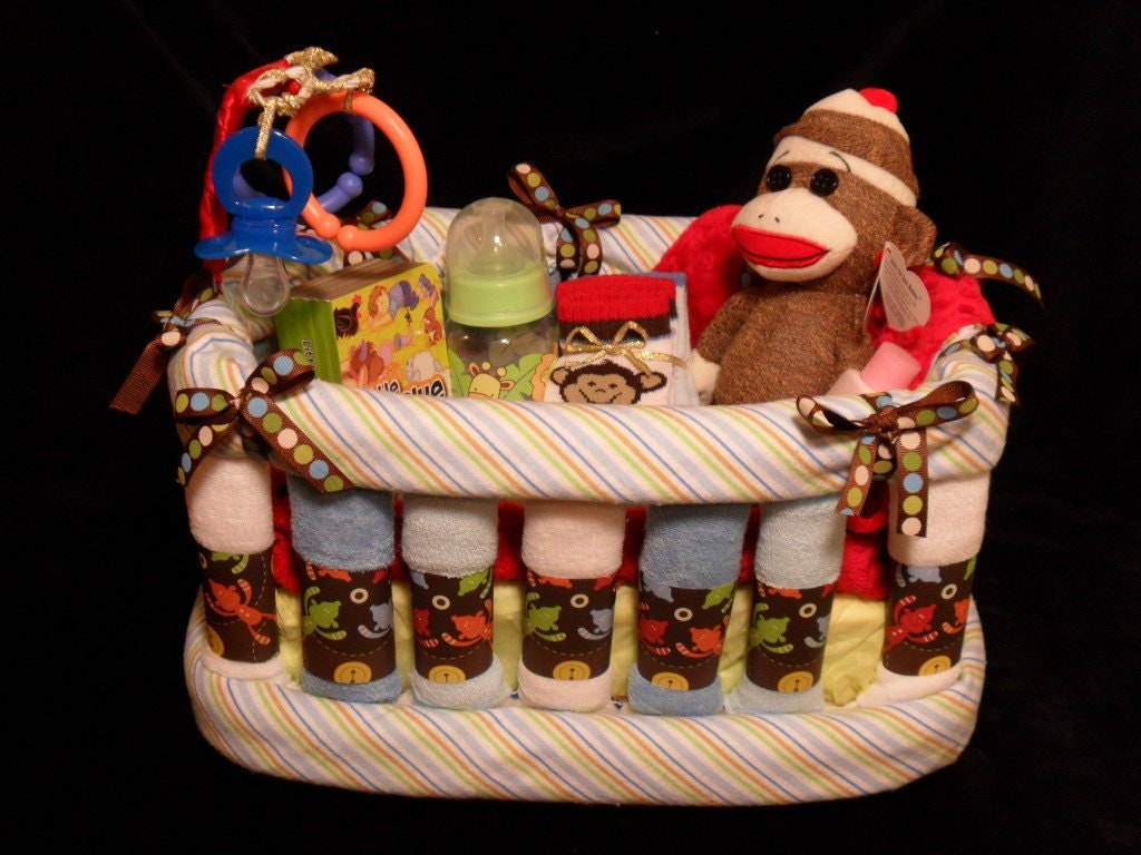 Sock Monkey Crib Washcloth And Diaper Cake Various Themes