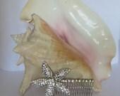 RHINESTONE HAIR COMB Beach Wedding Hair Accessory Bling Starfish Hair Accessory Starfish Beach Bride