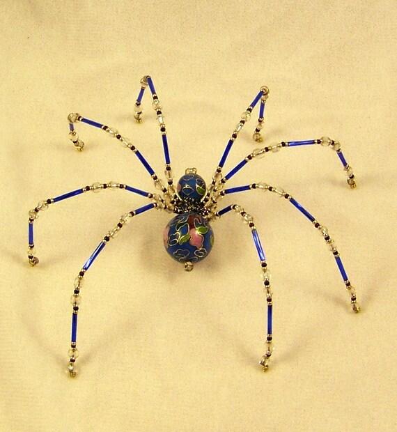 blue and black cloisonne beaded german christmas spider. Black Bedroom Furniture Sets. Home Design Ideas
