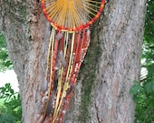 Dreamcatcher, Large - 4 Ft. Long.  Vibrant orange and gold.  Braided, beaded, and feathered