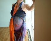 One-of-a-Kind Custom PranaMaker Maternity Wrap Art Dress w/ belt/scarf. Bird of Paradise. Hand Painted by Natalia Hacerola.