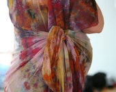 One-of-a-Kind Custom PranaMaker Maternity Wrap Art Dress w/ belt/scarf. Confetti.