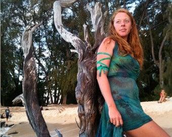 One-of-a-Kind Custom PranaMaker Scarf Wrap Dress. Xina Mermaid. Hand Painted by Natalia Hacerola.