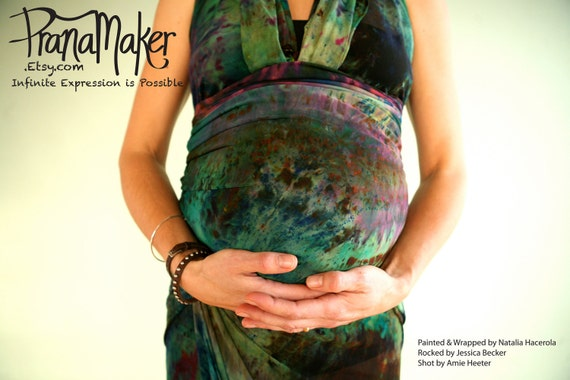 CUSTOM RUSH. Stretch Wrap Dress Sarong Cover Up. Wrap Beyond Your Dreams. Beach. Maternity. Yoga. Green Scene. Handpainted.
