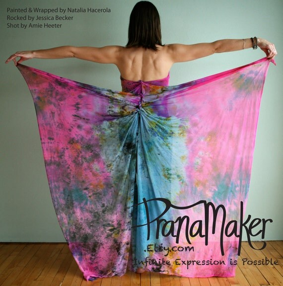 One-of-a-Kind Custom PranaMaker Maternity Wrap Art Dress. New Baby Wings. Hand Painted by Natalia Hacerola.