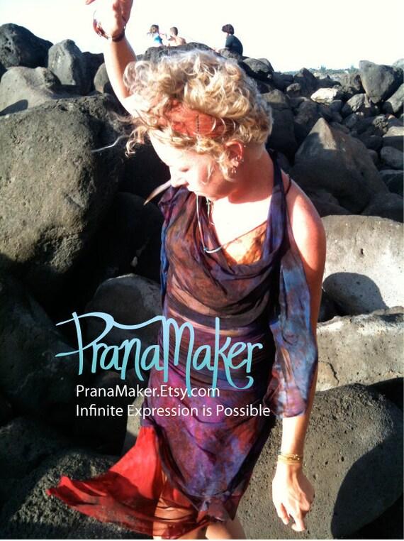 One-of-a-Kind Custom PranaMaker Scarf Wrap Dress. Danae Maui. Hand Painted by Natalia Hacerola.
