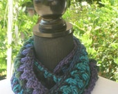 Necklace Skinny Infinity Eternity Cowl Scarf Northern Lights Purple Forest Green Cluster Crochet