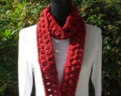 Necklace Skinny Infinity Eternity Cowl Neckwarmer Scarf Hollyhock Red Tan Cluster Crochet