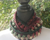 Necklace Skinny Infinity Eternity Cowl Scarf Holiday Burgundy Forest Green Cluster Crochet