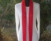 Necklace Skinny Infinity Eternity Cowl Scarf True Red Cluster Crochet