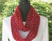 Necklace Skinny Infinity Eternity Cowl Scarf Berry Burst Red Pink Cluster Crochet