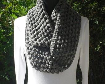 Infinity Eternity Cowl Neck Warmer Scarf True Grey Cluster Crochet