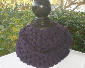 Infinity Eternity Cowl Neck Warmer Scarf Amethyst Purple