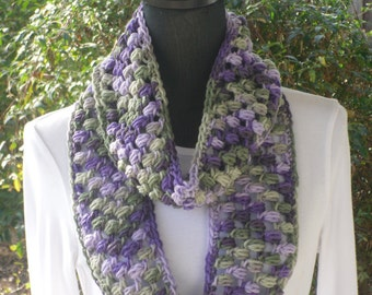 Infinity Eternity Cowl Neck Warmer Scarf Fresh Lilac Ombre Purple Green Lavender