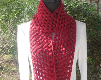 Infinity Eternity Cowl Neck Warmer Circle Scarf Cherry Red Valentines Day