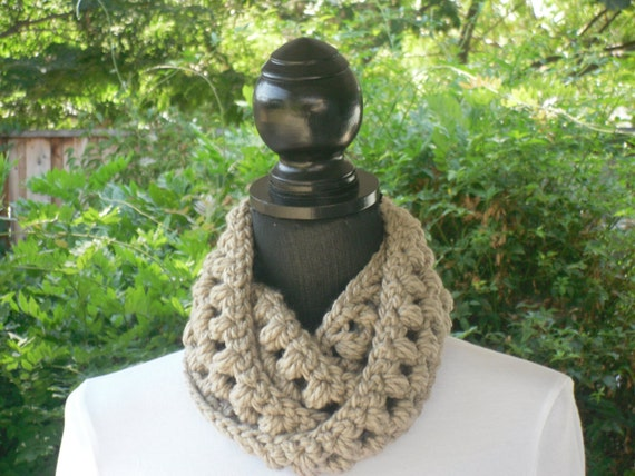 Necklace Skinny Infinity Eternity Cowl Scarf Taupe