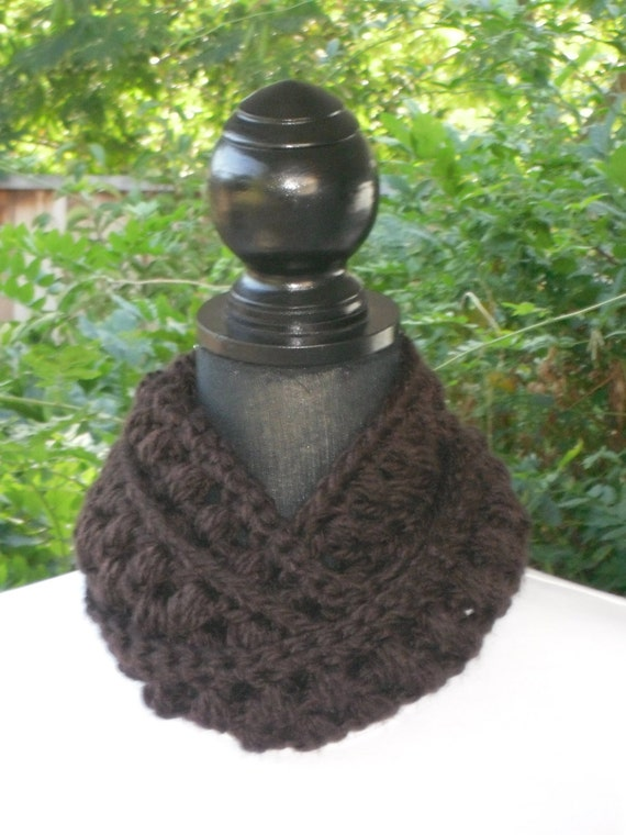 Necklace Skinny Infinity Eternity Cowl Scarf Espresso Brown