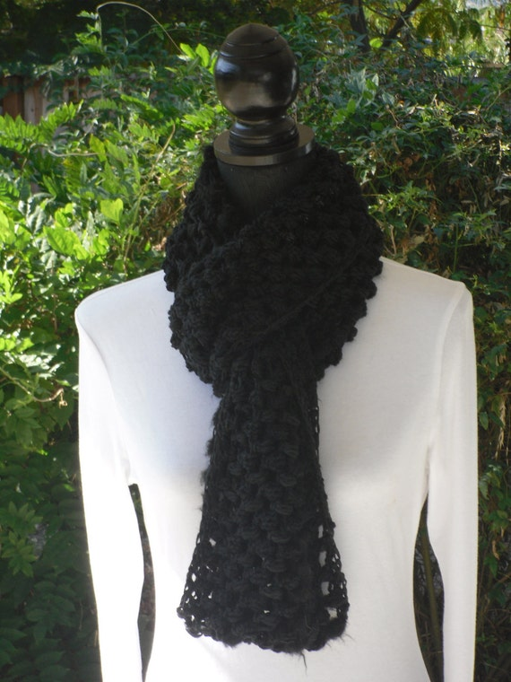 Infinity Eternity Cowl Neck Warmer Scarf Onyx Black Soft Cluster Crochet