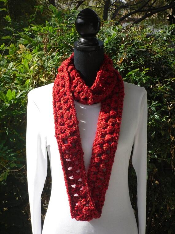 Necklace Skinny Infinity Eternity Cowl Neckwarmer Scarf Hollyhock Red Tan Cluster Crochet