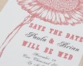 Vintage Floral Wedding Save The Date Cards - Sunflower
