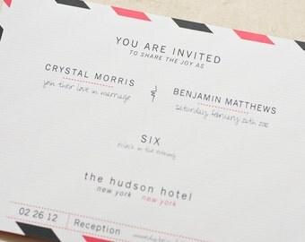AirMail Postcard Wedding Invitation