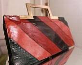 Reserved for cashab/// Vintage 70s/80s Multicolor Snakeskin Oversize Envelope Clutch