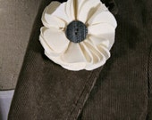 Upcycled Off-White Wool Flower Pin/Hair Clip with Gray Button, Accessory, Repurposed Fabric