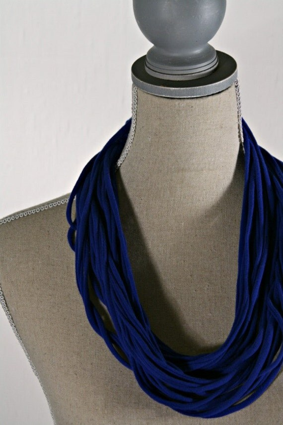 """Upcycled Blue Jersey Tee """"Noodle"""" Scarf, 2 ways to wear, T-shirt Loop Scarf,  Accessory"""