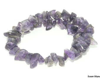 Wrap around bracelet made of natural amethyst on memory wire