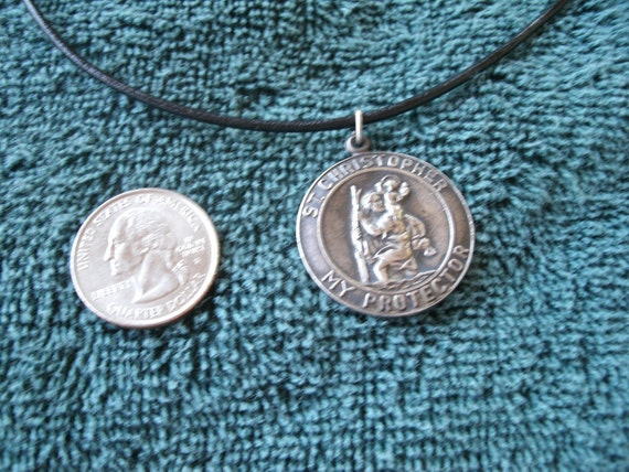 Vintage heavy Silver Saint Christopher Pendant - Leather Cord Necklace