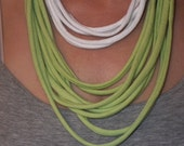 Beautiful Green and White Fabric Multistrand Necklace